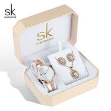 Женские кварцевые часы Shengke, комплект из ожерелья и серёг из розового золота с кристаллами, 2019