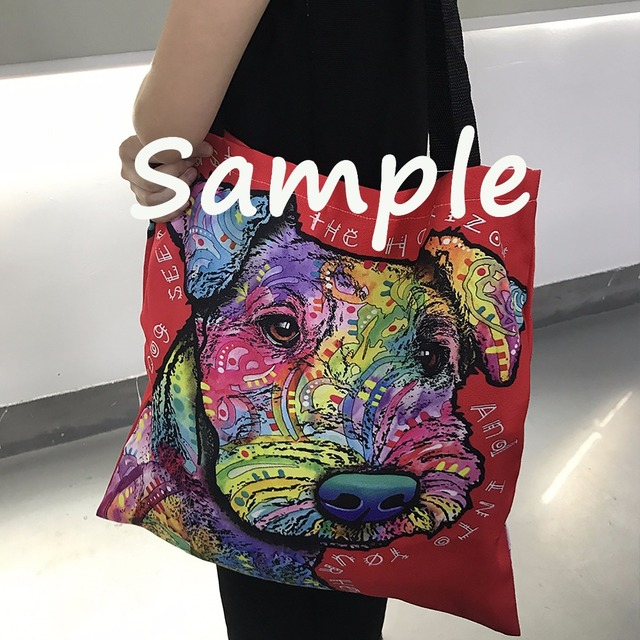 Custom Two Sides Print Lovely Boxer Series II Tote Bags Colorful Aniamsls Canvas Bag Art Pet Dogs Shopping Handle Bags