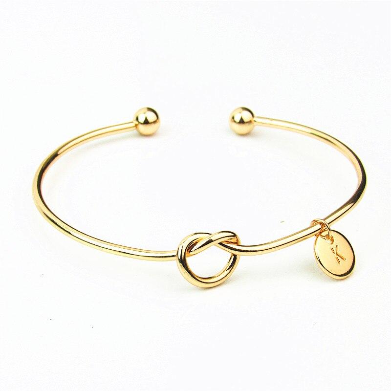 Adjustable Love Knot Bangle Bracelets for Women Girls Custom Letters Cuff Bangle Bracelets for Friends