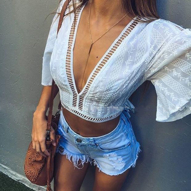 Romantic Fashion Women Boho Beach Summer Mesh Lace Up Loose Casual Short Sleeve Crop Vest Blusas Tops Ladies Sexy Femme Midriff Blouse 50% OFF Blouses & Shirts