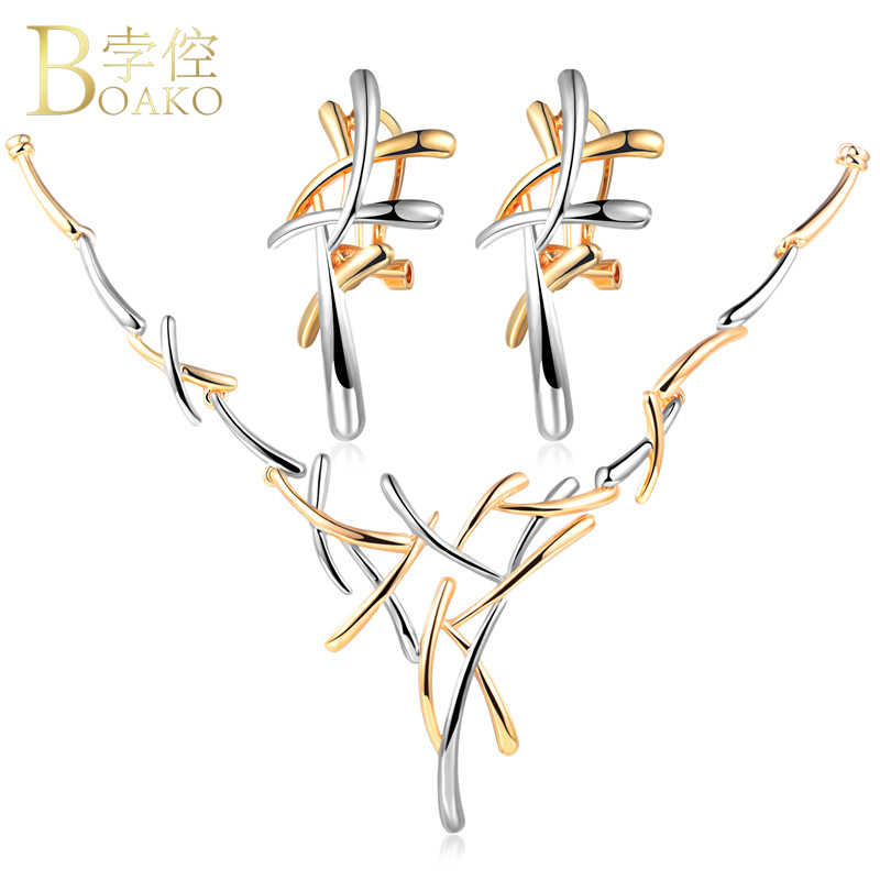 BOAKO Silver Gold Color Metallic Earrings Statement Necklace Cross Jewelry Set for Women Punk Style Female Party Jewelry Set Z2