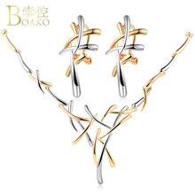 BOAKO Silver Gold Color Metallic Earrings Statement Necklace Cross Jewelry Set for Women Punk Style Female Party Jewelry Set Z2 недорого