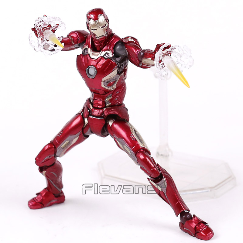 SCI-FI Revoltech Series NO.004 Iron Man MARK XLV MK45 PVC Action Figure Collectible Model Toy 16cm 1 6 scale 30cm the avengers captain america civil war iron man mark xlv mk 45 resin starue action figure collectible model toy