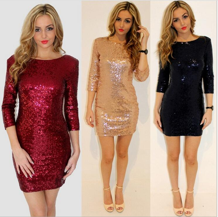 Backless Mini Women Dress O Neck Three Quarter Sleeve Plus Size Bodycon Party Pencil Sequined Dresses