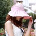 Горячие Продажа Мода Повседневная Женщины Лето Шляпы Дамы Твердые Полиэстер Широкими Полями Дискеты шляпа Солнца Складной Sunhat Складной Туризм Cap