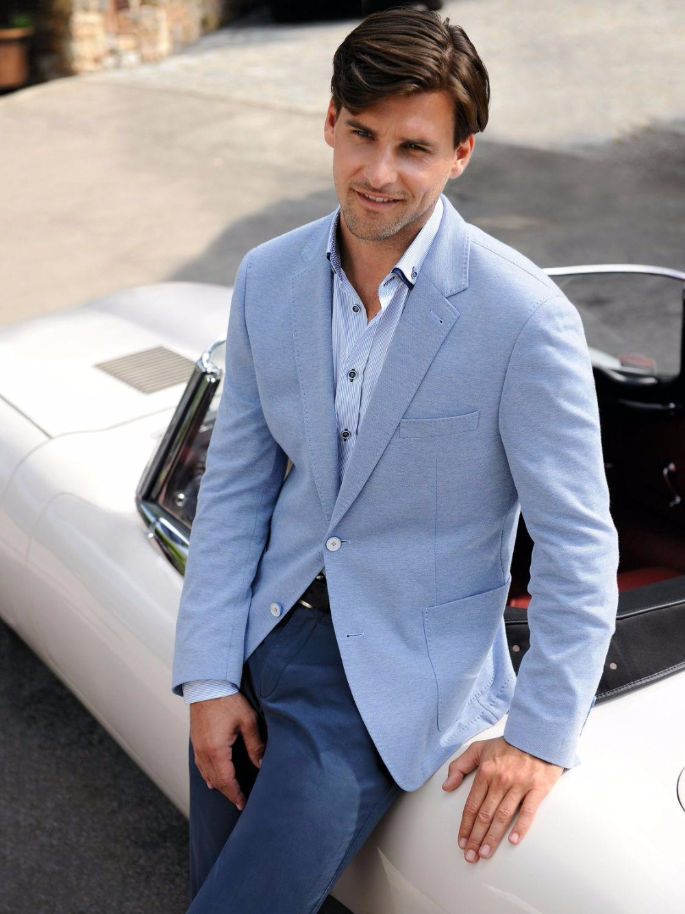 Latest Coat Pant Designs Light Blue Casual Custom Made Suit For Men ...