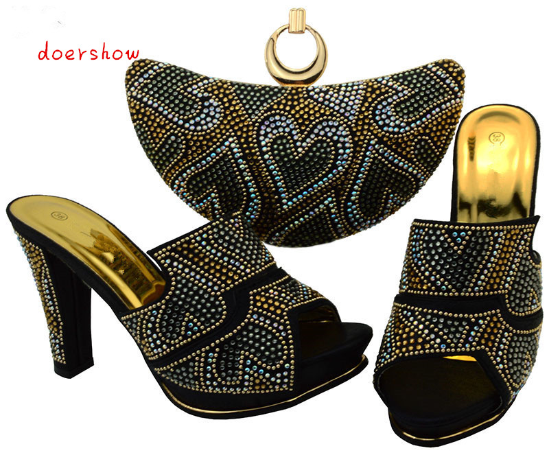 doershow Italian Matching Shoes and Bag Set African Wedding Shoe and Bag Sets Matching Shoes and Bags for Wedding BCH1-13 new arrival fashion italian shoes with matching bags set for wedding and party african shoes and bag sets with stones bch 16