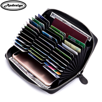 Andralyn Men Women Genuine Leather RFID Long Zipper Wallets Large Capacity Organizer Credit Card Holder Travel