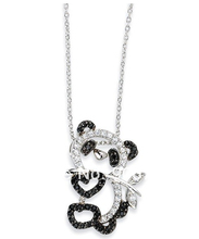 50 pc a lot rhodium fashion design mini panda crystal animal necklace (A118518) jewelry