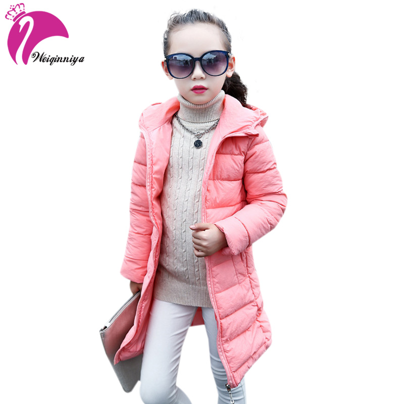 Children Girls Winter Parka Coat New 2018 Fashion Long Thick Duck Down Warm Kids Clothes Casual Solid Cotton Jacket Outwears s xl thick warm long women winter coat 2016 fashion down coat with hoodies long sleeve white parka solid color