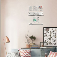 Kids Wall Stickers Living Room Decoration Backdrop Stickers Arrow Life Slogan Mirror Wall Stickers For Kids