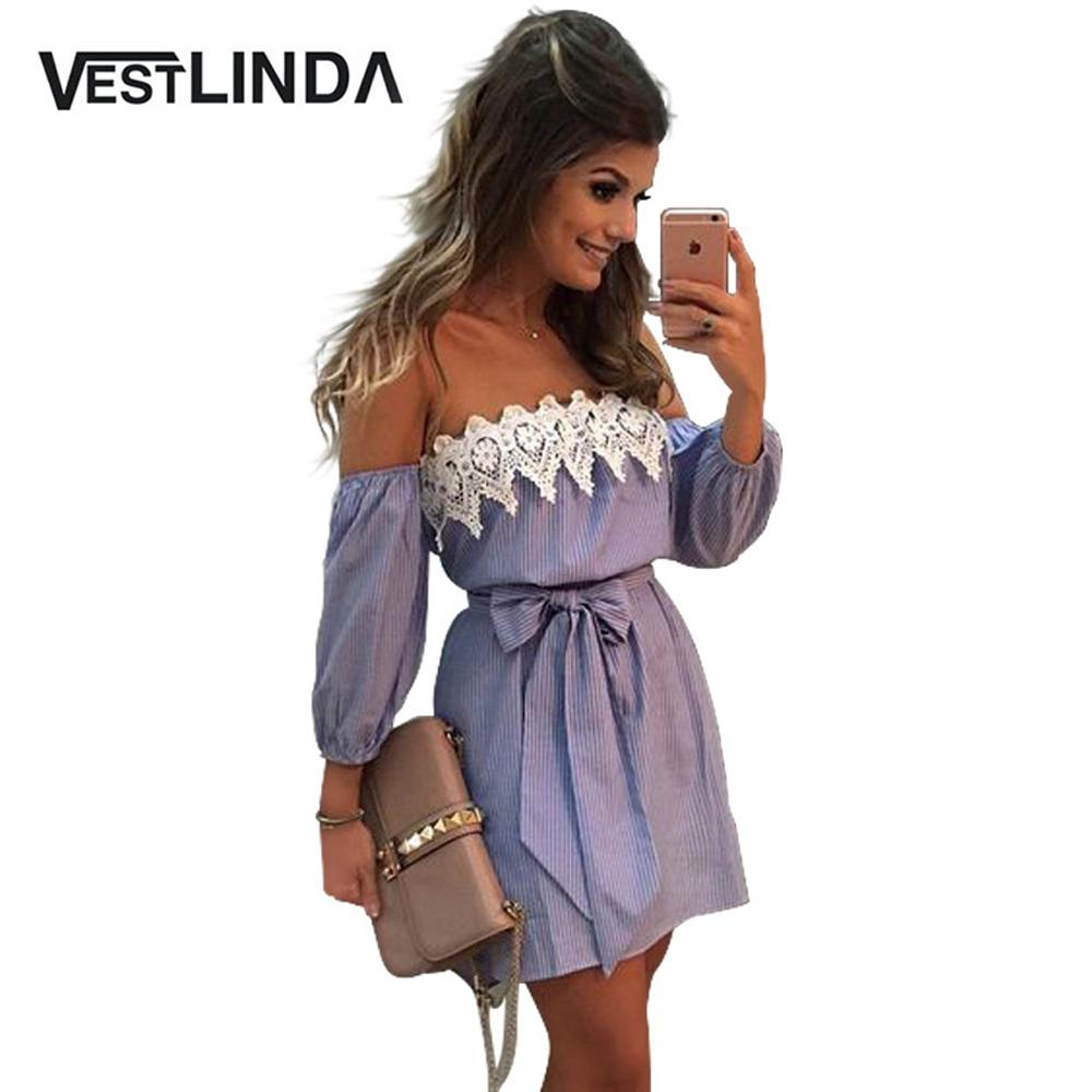 VESTLINDA Off Shoulder Blue Striped White Applique Mini Dress Women Slash Neck Lantern Sleeve Casual Sexy Short Dress With Belt 7