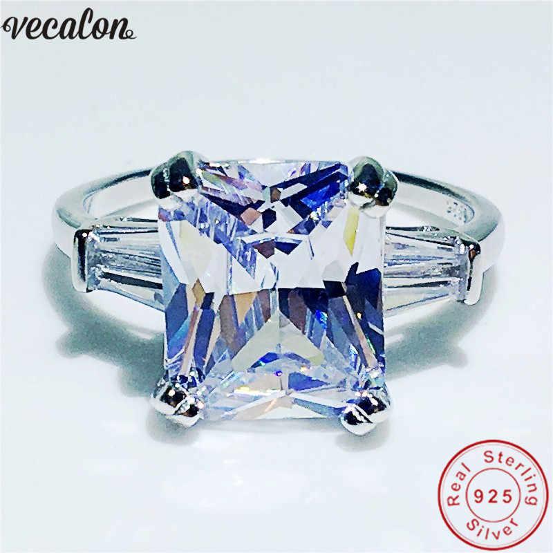 Vecalon Sang Trọng Thực 100% 925 Sterling Silver Bạc Công Chúa cắt 4ct 5A Zircon Cz Engagement wedding Nhạc nhẫn đối với phụ nữ người đàn ông Món Quà