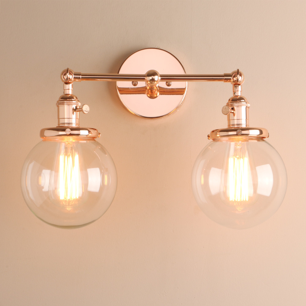 Image 3 - Permo Modern Bedroom Wall Lights Stair Wall Lamp Sconce 5.9 Globe Glass Double Ball Heads Vintage Indoor Lighting Fixtures-in Wall Lamps from Lights & Lighting