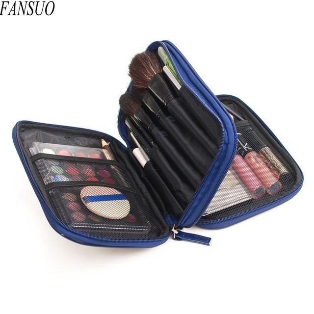 Girl Candy Colors Double Layer Double Zipper Waterproof PU Beautician Toiletry Cosmetic Bags Cartoon Print Lady Make up Bag