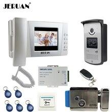 "JERUAN wired 4.3"" Video Door Phone intercom System Kit +700TVL RFID Waterproof IR Night vision Camera + ELectric control lock"