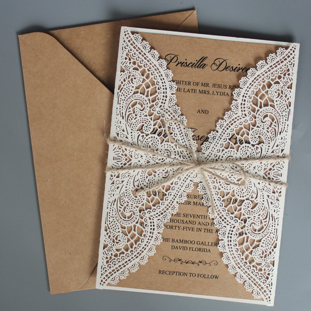 Wedding Invitations With Lace: Rustic Wedding Invitations Suite Kraft Paper Invitation