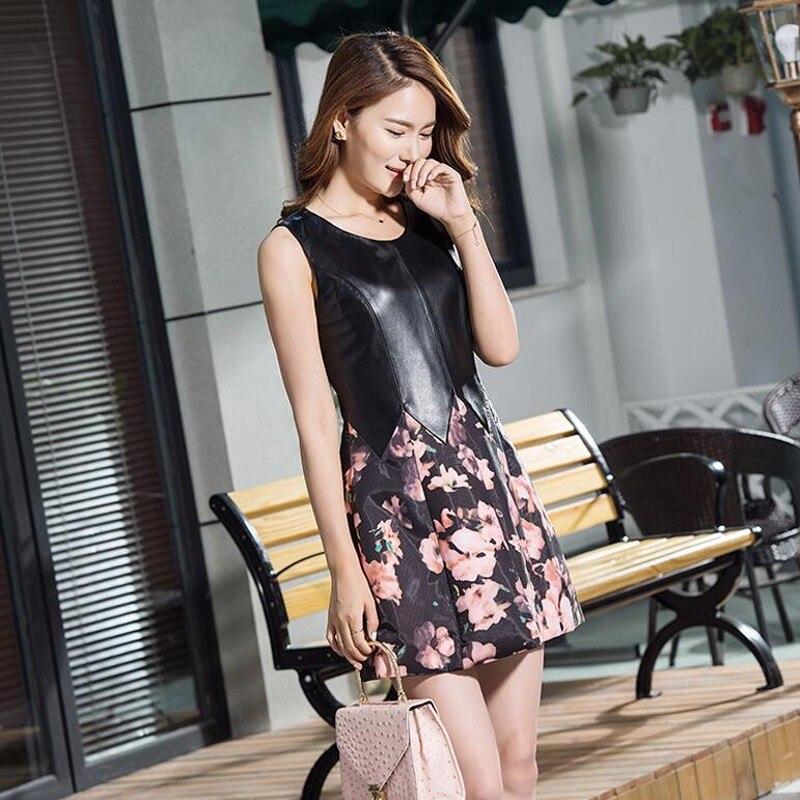 Sans Parti Cuir Manches Black Nouveau Femelle Printemps Slim Femmes Mini Imprimé 2019 En Doux De Véritable Floral Robe Robes Fit Bal FOZxZ76w