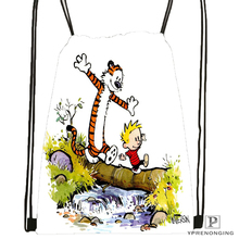 Custom Calvin and Hobbes Drawstring Backpack Bag Cute Daypack Kids Satchel (Black Back) 31x40cm#180531-03-72