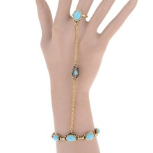 2 Color Fashion Slave Bracelet Bangle With Stones Vintage Tibetan For Women Golden Silver Chain Jewelry