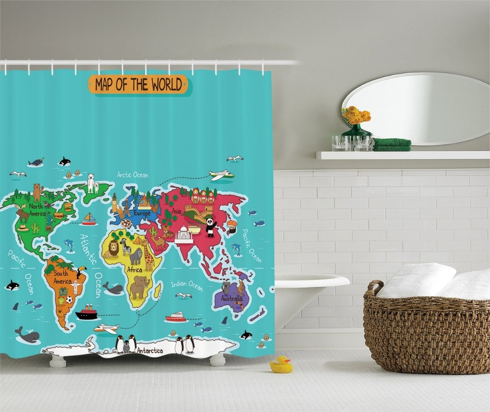 Shower Curtain Colorful Educational Kids Maps Decor Printing Waterproof  Mildewproof Polyester Fabric Bath Curtain Set