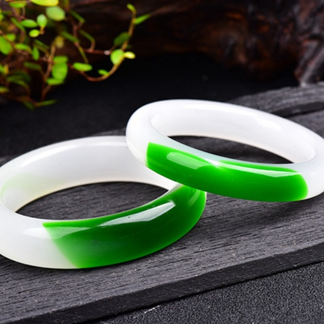 AAA Wide Version Bangle Chinese Green Jade Bangles 58mm-64mm Hand Carved Bracelet Charm Natural Stone Jewelry KYY8757