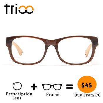 652d2b5b98 Gafas clásicas de bambú de alta calidad TRIOO, gafas miopía de nuevo  diseño, gafas