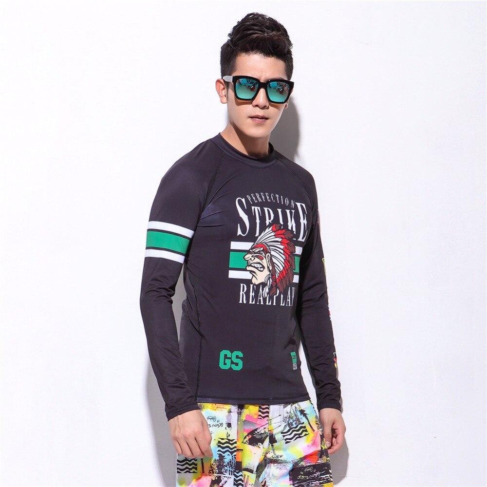 Long Sleeve Summer Rash Guard Surfing Swim Shirt Men Slim Weisuit Tops Sun Protection Beach Surf Swimwear T-Shirts