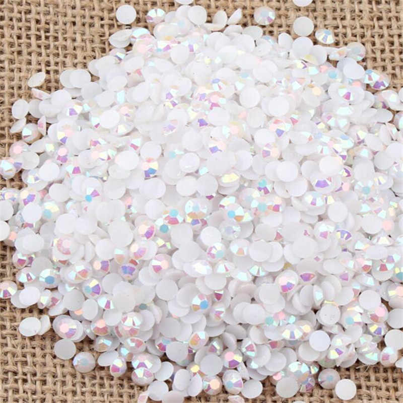 2 MM 3 MM 4 MM 5 MM 6 MM Bling Jelly Putih AB Warna Resin Rhinestones Tangan Craft Pipih Resin Batu Garmen & Nail Dekorasi Seni