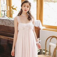2019 Summer Women Elegant Nightgown Hot Sleepwear Sleeveless Lace Curved Hem Female Casual Sleep Dress Loose Ivory Lingerie