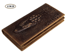 J.M.D Genuine Leather Crocodile Pattern Long Purse Fashion Design Wallet Men's New Style Business Card Holder Clutch Bag 8030C 2018 card holder personalityleather standard wallet new limited edition leather personalized design classic mafia pattern ha