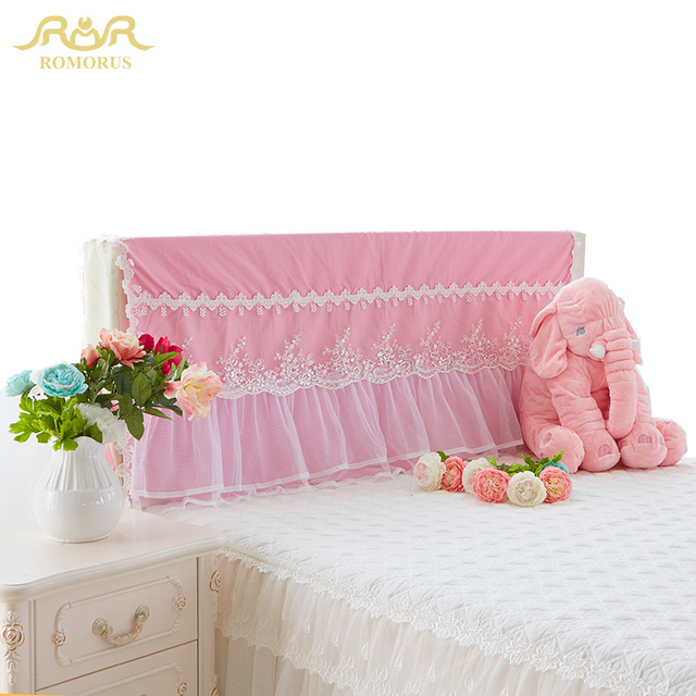 Romorus Beautiful Lace Pink Bed Headboard Cushion Covers Dustproof Purple White Princess Decorative Cover For 1 2m 5m 8m