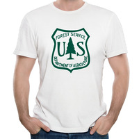 Men S US Forest Service Flag 2016 National Park Cotton Top Shirts Vintage Printed Crew Neck
