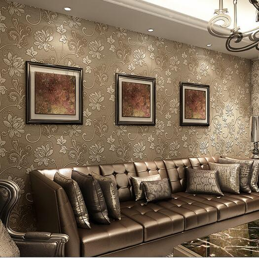 European Wall Paper Home Decor Background Damask Wallpaper Coffee Floral Wallcovering 3D Super Thick Living Room In Stickers From