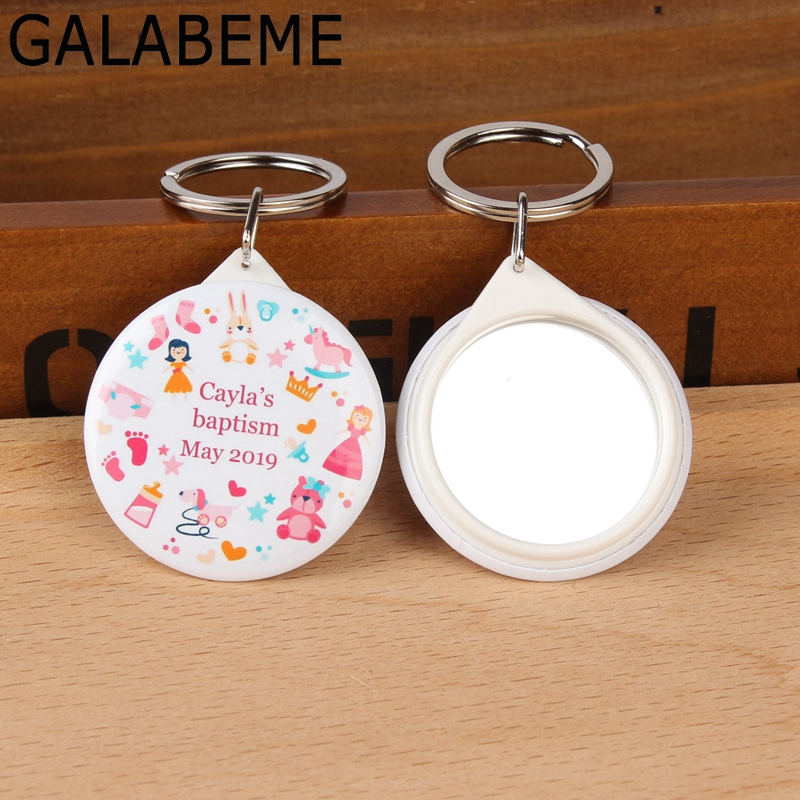 50pcs Personalized logo custom photo keychain with Mirror Christening Baptism baby shower souvenirs kids birthday party