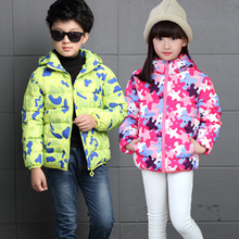 2016 New Winter Autumn Children Down Coats Kids Boys Camouflage Thick Warm Jackets Girs Detachable Hoody Down Outwear 4-11Y