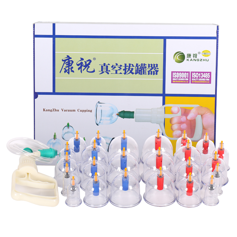 Cheap Chinese Vacumm Cupping Set Kit Medical Kangzhu 24 Cans Cups for Body Suction vacuum Apparatus Therapy Curve Suction Pumps