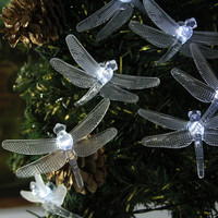 5M 20LED Solar Hard Dragonfly Light String Christmas Wedding Party Decoration