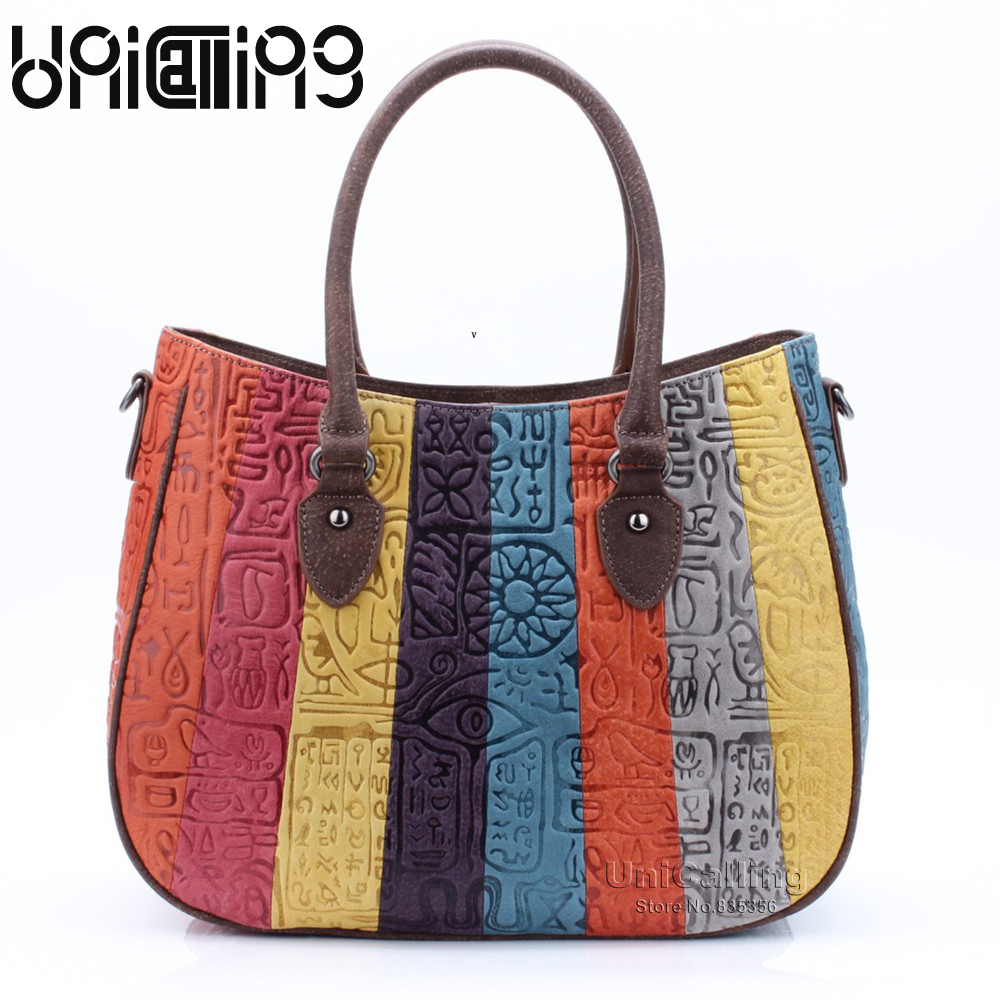 UniCalling fashion panelled genuine leather handbag shoulder bag real cow leather striped women bag hieroglyphic pattern unicalling denim