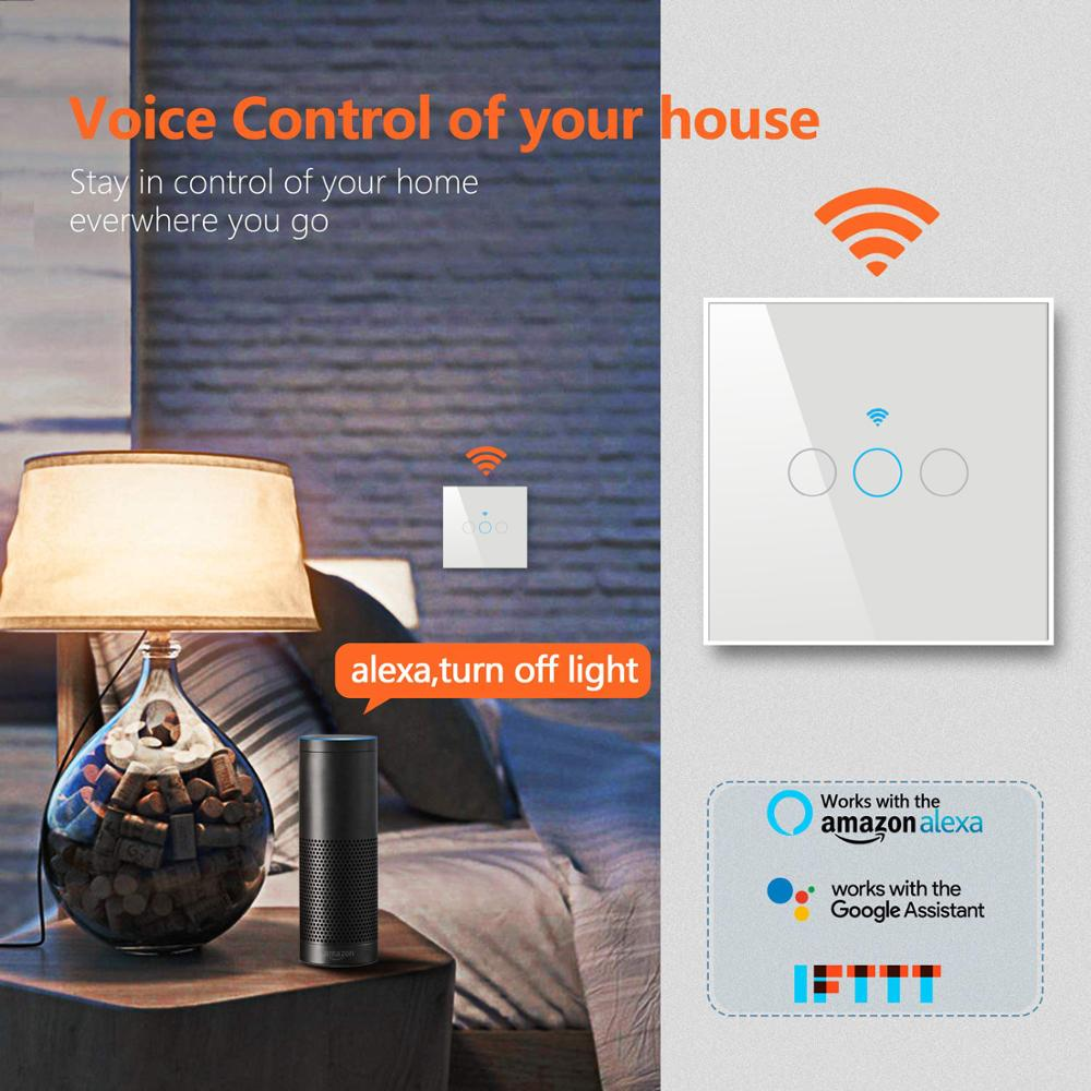 Image 3 - Tuya wifi switch EU 10A Single Fire wire Wall Light Switch smart timer  touch switch Voice Control Compatible Alexa Google IFTTT-in Smart Remote Control from Consumer Electronics