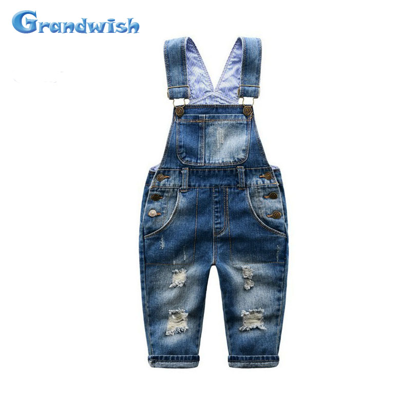 Grandwish New Boys Ripped Denim Overalls Children Jumpsuit Jeans Shorts Boys Casual Jeans Shorts 24M-8T, SC168