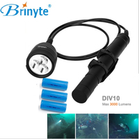 Brinyte DIV10 LED Diving Light CREE XML2 3000lm LED Scuba Diving Torch Flashlight 200M Underwater Lamp + 3* battery