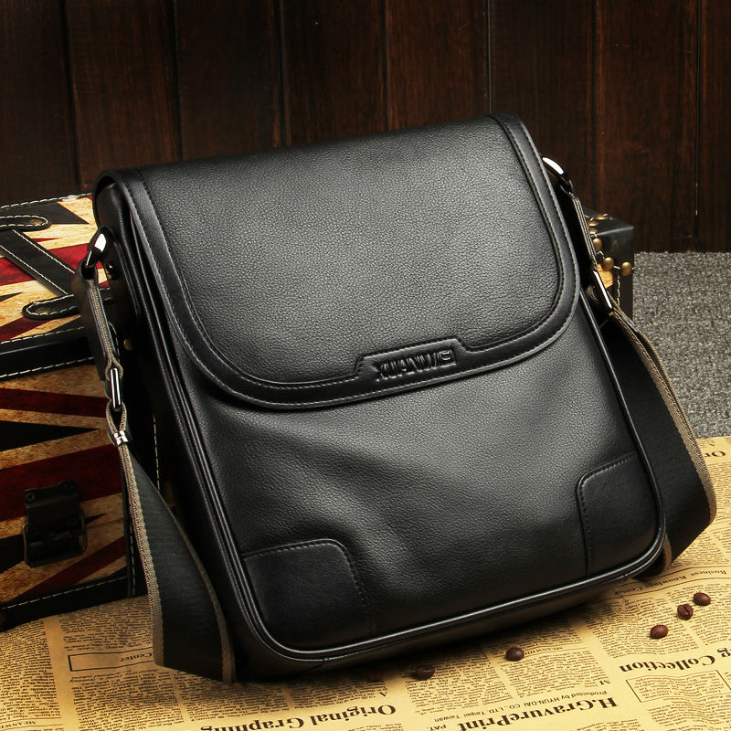 XuanWei High Quality Black Full Grain Genuine Cow Leather Flap Bags Men Luxury Retro Single Shoulder & Messenger Bags (XW-8669)