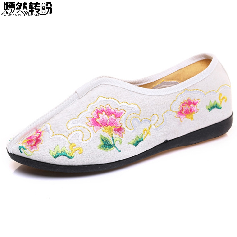 Vintage Women Flats Shoes Embroidery Slip On Shoes Floral Casual Canvas Dance Shoes Woman Ballet Flat Zapatos Mujer Plus Size 41 2017 summer spring women ballet flats round toe slip on shoes woman flower bowknot loafers vintage zapatos mujer canvas