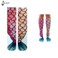 2016 New Arrived Women Brand Long Colorful Tail of Mermaid 3D Fashion Print Stocking for Girl Lady