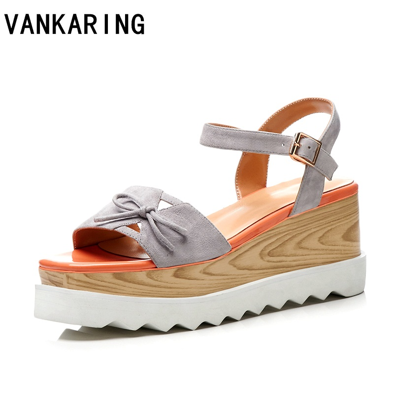 VANKARING new 2018 summer fashion butterfly knot fashion sandals wedges high heels high qulaity women dress party shoes size 42 brand big size 42 43 beach shoes fashion transparent pvc butterfly flowers open toe wedges heels sandals women party dress pump