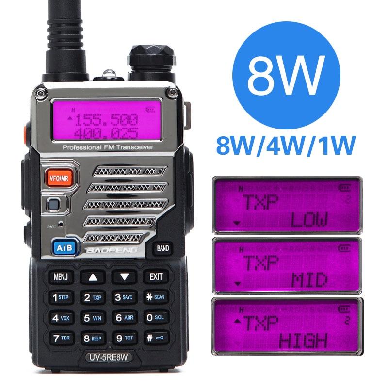 BaoFeng UV-5RE 8 w Talkie Walkie 10 km Double Bande UV5R Deux Way Radio VOX lampe de Poche De Poche Longue Portée Portable jambon Radio Chasse