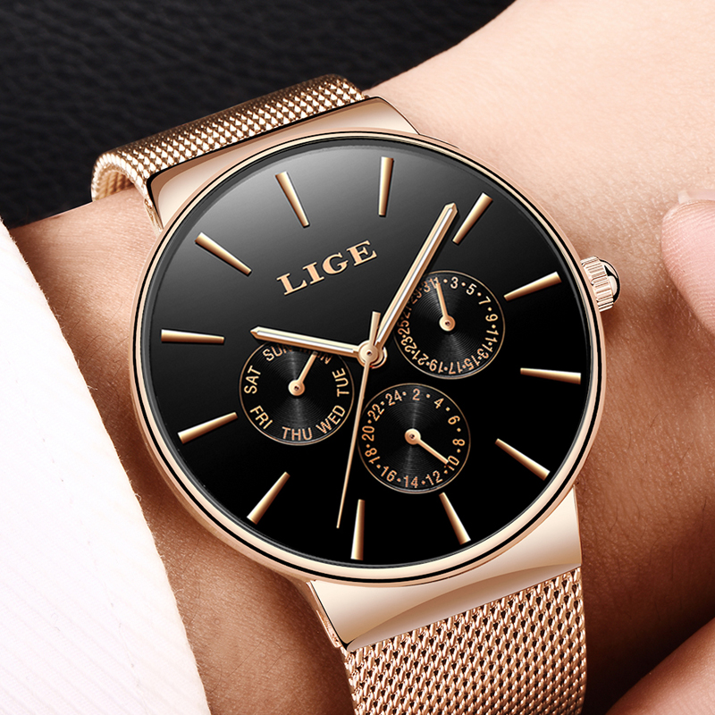 LIGE Top Brand Luxury Fashion Simple Men Watch Business Mesh belt Quartz Watches Mens Clock Male Sports watch relogio masculino men watch top luxury brand lige men s quartz watches fashion casual mesh belt dress business military male clock reloj hombre