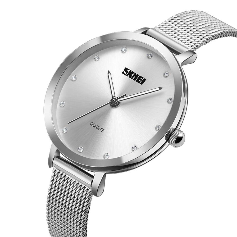 SKMEI Women Fashion Watches Luxury Stainless Steel Strap Quartz Watch Ladies Waterproof Elegant Wristwatches Relogio Feminino 2