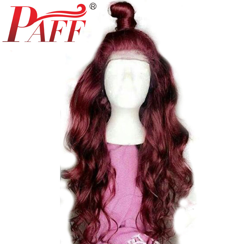 PAFF 99j Burgundy Body Wave 360 Lace Frontal Human Hair Wigs Ombre Red Wine Lace Front